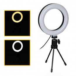 Ring Light Portátil Iluminador Led 16cm 3500k 5500k + Mini Tripé