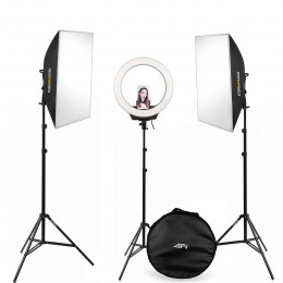 Luz de estúdio LED Softbox com Iluminador e Ring Light