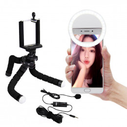 Kit YouTuber Vlog de Celular c/ Ring Light Microfone e Tripe